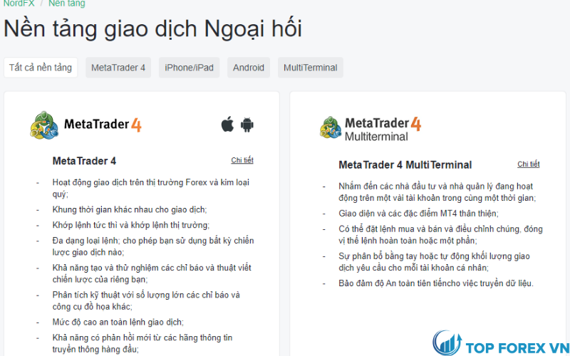 Nền tảng giao dịch NordFX