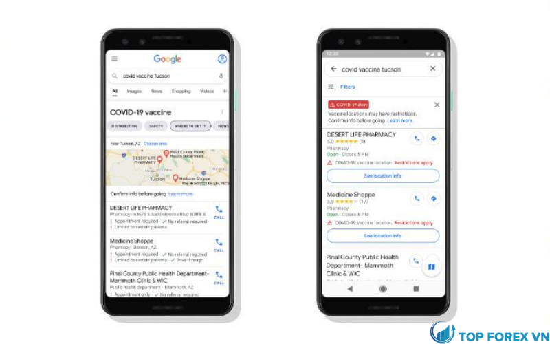 Google Maps cung cấp thông tin địa điểm tiêm ngừa Covid-19