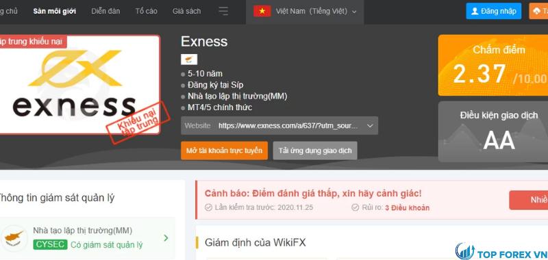 WikiFX đánh giá Exness 2.37 trên 10 điểm