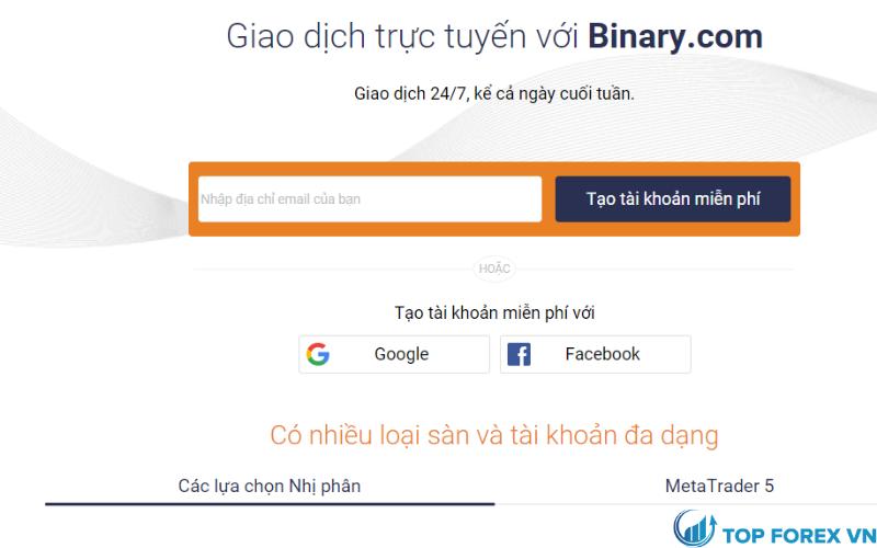 Các loại tài khoản tại Binary.com là gì