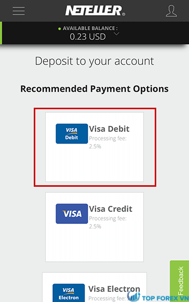 Nạp bằng thẻ Visa