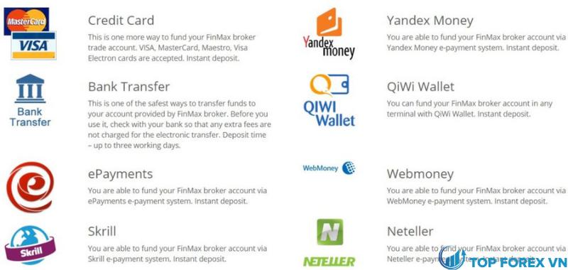 Phương thức gửi và rút tiền