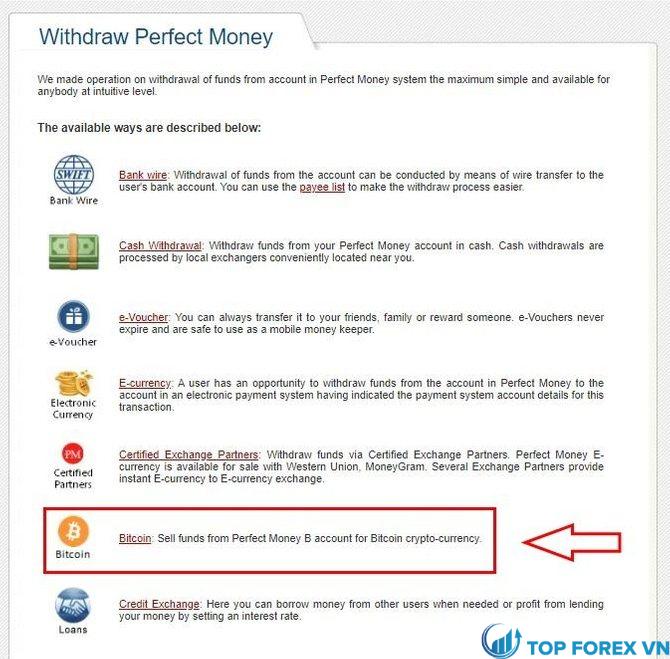 Rút tiền từ perfect money về Việt Nam